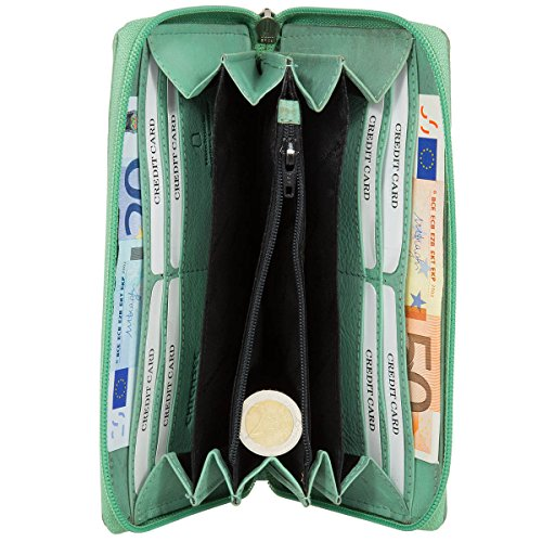 CHIEMSEE Rivet Leather Wallet Black pastel green