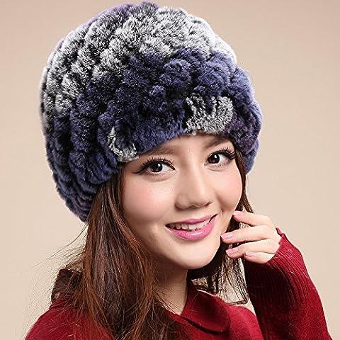 Dngy*Coniglio cappelli di lana inverno bambini peli di coniglio cappelli a maglia Ms. inverno fur anziani di persone anziane nei cappelli , nonna camouflage