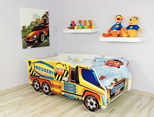 Moleo Autobett Kinderbett Juniorbett in LKW Optik mit Matratze und kleinem Kissen (140x70). Praktisches und bequemes Bett für Ihr Kind, Farbe:Betonmischer