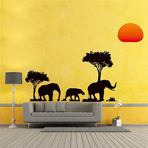 YYPYMC Árbol Negro Elefantes Pegatinas de Pared Sala de Estar Decoraciones X017....
