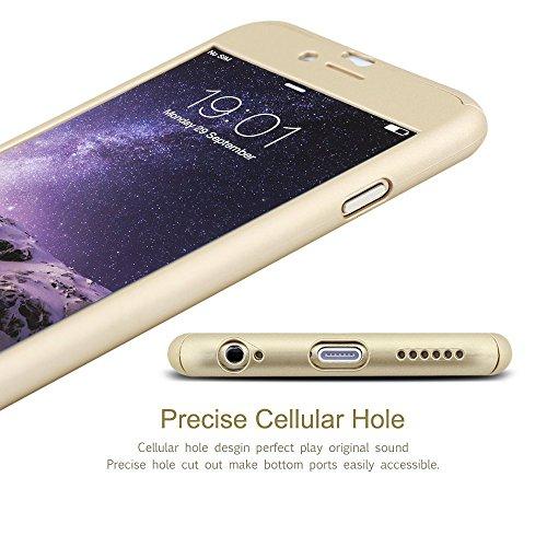 iPhone 6/6S case, Ipaky 360° custodia full body copertura con foro posteriore per iPhone 6/6S [antigraffio] ultra sottile custodia rigida con pellicola proteggi schermo in vetro tempera