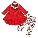 Babykleidung,Sannysis 3Pcs Säugling Kleinkind Baby Mädchen Kleider + Weihnachtsmann Geschenk Print Hosen + Schal Set Outfits Kleidung
