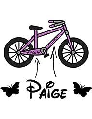 2x niña personalizado con bicicleta marco vinilo Pegatina para bicicleta infantil nombre Triciclo