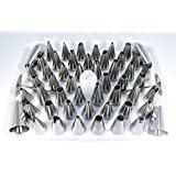 Davelle Cake Decorating Tips - 55 Piece Set. Premium Stainless Steel Icing Tips with Hinged Storage Box.