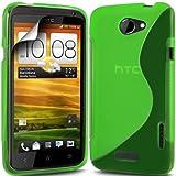 (Grün) HTC One X Schutz S-Line Wave Gel Case Cover Skin & LCD Screen Protector Guard von Spyrox