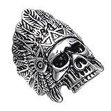 XMZBN Joyería de Acero Inoxidable 316L de Plata para Hombre nativa Americana Cráneo Indio Banda Anillo de la Vendimia Punky gótica