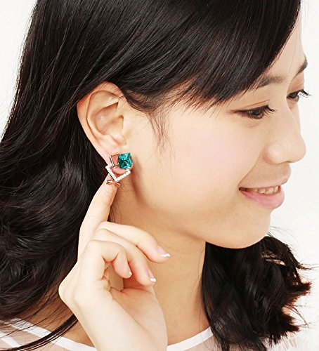 Grimbatol Simulated Diamond Accent Green Cube Crystal Stud Earrings -