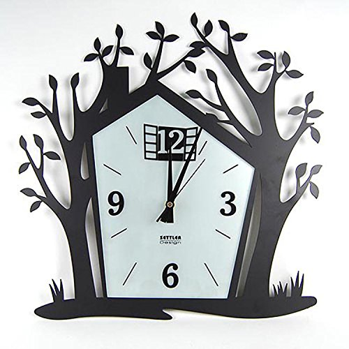 horloge murale CivilWeaEU- Fashion Creative House Arbre Art personnalisé Living Room Iron Quiet Modern Watch Simple et Moderne Table