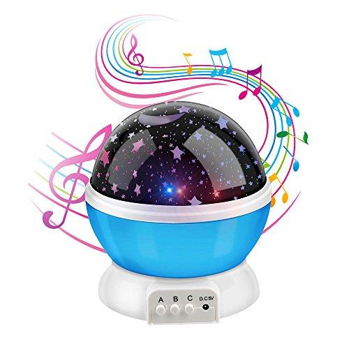 Anpress - Proyector de luna y estrellas con 12 melodías suaves, luz nocturna para habitación de bebé, rotación de 360 grados y 3 modos de luz, recargable por USB, ideal para decorar el hogar y regalar a niños por Navidad azul azul