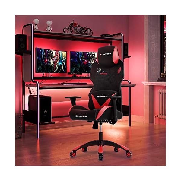 Songmics  RCG18RD Silla Gaming y Oficina, Cuero Sintético, 85 x 65 x 34 cm, Negro/Rojo