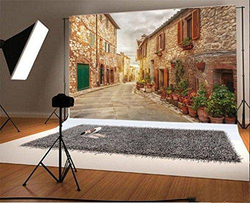 YongFoto 3x2m Foto Hintergrund Italien schmale Stadt Straßen Grün Anlagen verwitterten Ziegelstein Sonnenschein Natur Naturreise Fotografie Hintergrund Photo Portrait Party Kinder Hochzeit Fotostudio