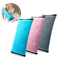 BeatlGem Car Belt Pillow, Pack of 3, 3 Color Seat Belt Pillow - Plush Soft Auto Seatbelt Strap Cushion Pillow Kids, Toddlers, Children Headrest Neck Support, Adjustable Vehicle Shoulder Cover Pads