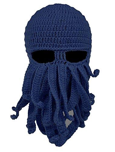 Ateid inverno cappello di lana maschera da polpo barba blu marino