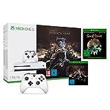 Xbox One S 1TB Konsole - Mittelerde: Schatten des Krieges Bundle + Sea of Thieves & 2 Xbox Controller