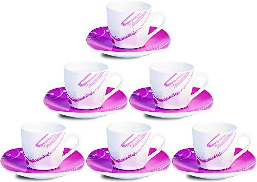 Viscio Trading Haus & Table Service Kaffee mit Untertasse eckig, Porzellan, Pink, 6Einheiten
