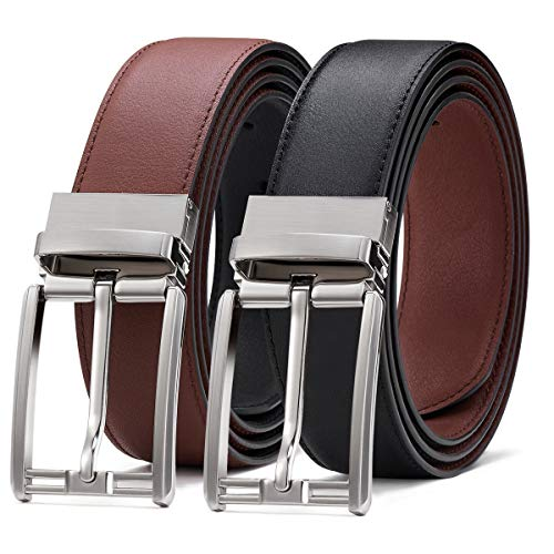 Cinturón Hombre de Cuero Bicolor Marrón y Azul con Reversible Hebill