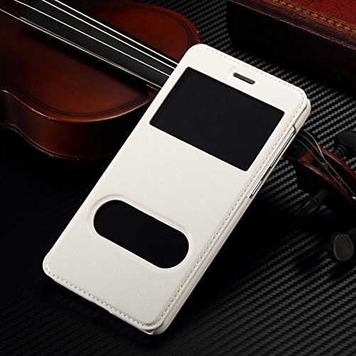 "iPhone 6 Plus / 6S Plus 5.5"" Coque, SHANGRUN PU Cuir Housse Coque Fenêtre d'ouverture Case Flip Cas de Protection Portable Skin View Window Etui Cover pour iPhone 6 Plus / 6S Plus 5.5"" Or Blanc"