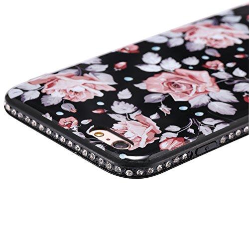 Ecoway Apple iPhone 6s Plus(5.5 Zoll ) IMD Case Cover, TPU Série de fleurs de porcelaine Shell autour du diamant Housse en Housse de protection Housse pour téléphone portable pour Apple iPhone 6s Plus A5
