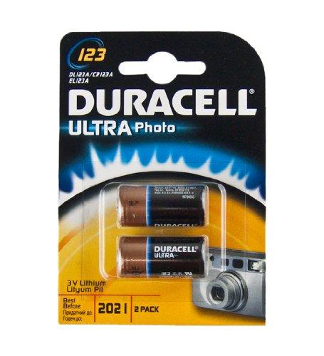 Duracell Ultra Lithium Batterie (Duracell DL123A Ultra Lithium 123 Batterie (2-er Blister) schwarz/kupfer)