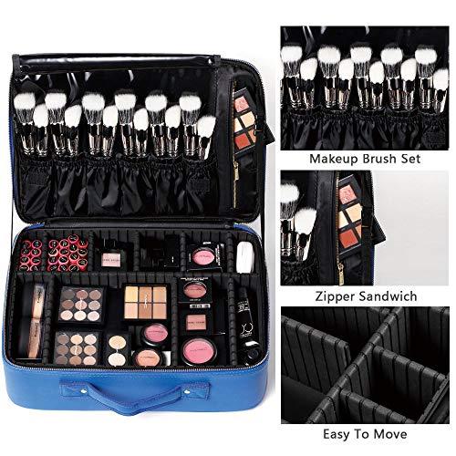 Make-up Artist Brush Belt ([Gifts for women] ROWNYEON PU Leather Makeup Bag Portable Makeup Artist Case Professional Makeup Train Case With Adjustable Dividers Best Gift For Girl (Medium, blau))