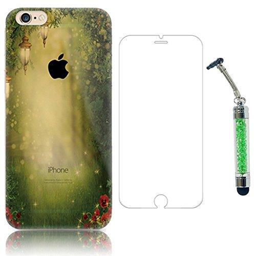 Sunroyal Kreativ Schutzhülle und HD Super Klare Displayschutzfolie für iPhone 4 4S Umwelt PC Schutzhülle Praktisch Harte Haut Hochwertigem Bumper Case Cover + 2 IN 1 Dust Plug Anti-Staub-Stecker Staub Pattern 09