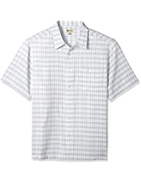 Haggar Men's Big and Tall Short Sleeve Microfiber Woven Shirt, White/Quarry, XLT