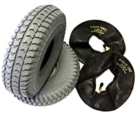 CST Wheelchair Tyre 3.00-4 (260x85) Pack of 2 Grey Tires + Pack of 2 Valves with angle valve, Durable 4 PR Tyre Strong Block Profile Spotlight Wheelchair Tyre Mobility Scooter, Wheelchair, OEM quality