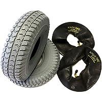 Silla 2 neumáticos 3.00 - 4 (260 x 85) gris + 2 unidades Manguera ángulo Válvula, neumáticos kräftiges bloque perfil, estructura 4 PR Neumáticos y estable,