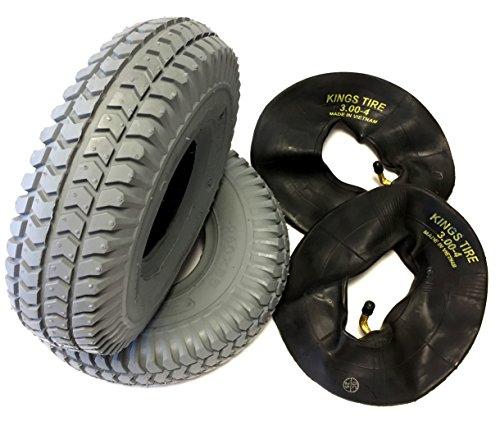 CST Rollstuhlreifen 2 Stück 3.00-4 (260x85) grau + 2 Stück Schlauch Winkelventil, Reifen kräftiges Blockprofil, Stabiler 4 PR Reifenaufbau, Rollstuhl Reifen für Elektromobil, Scooter, E-Rollstuhl