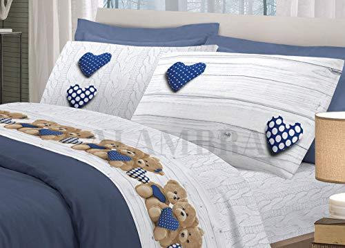 Pensieri delicati completo lenzuola in cotone o flanella disegno orsetti varie misure (blu, matrimoniale cotone)