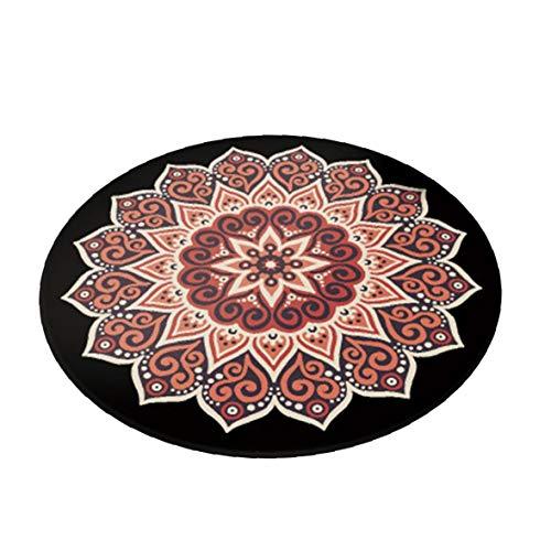 Patrón De Mandala Redonda Alfombra Antideslizante Alfombra De Baño De Estilo Bohemio Soft Espesar Manta De área De Sala De Estar Decoración