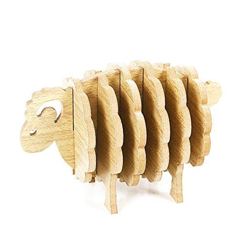 SODIAL Schafe Form Nicht-Hitze-Untersetzer DIY Tischset Kaffeetasse Pad Handmade Holz Tier geformt...