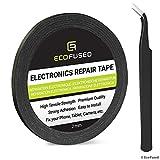 ECO-FUSED Ruban adhésif Autocollant pour Une Utilisation dans la réparation de téléphone cellulaire - Ruban de 2mm - incluant 1 Paire de Pinces/Chiffon de Nettoyage en Microfibre (Noir)
