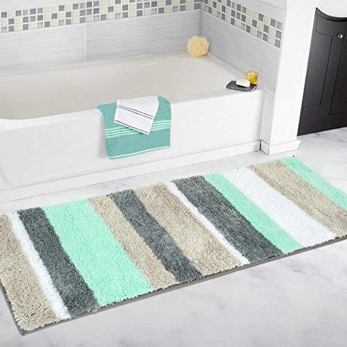 Pauwer Rutschfester Badvorleger, schimmelbestendiger Badezimmer-Teppich, Duschmatte, waschmaschinenfest, grün, 45x120cm (Teppiche Für Badezimmer)
