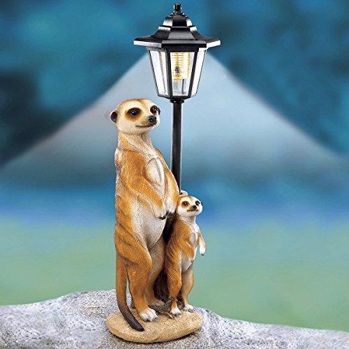 TRI Solarlaterne Erdmännchen, leuchtende Deko-Figur, Gartenfigur, Balkonleuchte, Gartenleuchte, Solar ohne Batterien, Erdmännchenfigur, Kunststein, 48 cm