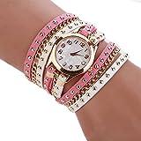 SSITG Damen Uhr Leder Nieten Armbanduhr Goldkette Analoguhr Quarzuhr Uhr Wickelarmbanduhr Shell Dial