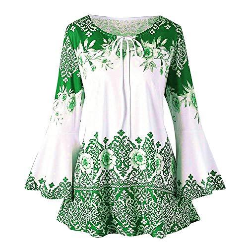 Zolimx Damen Bluse Tunika T-Shirt V Ausschnitt Shirt mit Volant Trompetenärmeln Mode Frauen Casual Applique Flowy Chiffon V-Ausschnitt Langarm Bluse Tops -