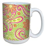 Tree-Free Greetings 79259 Paisley Daisies by Debbie Mumm Ceramic Mug with Full-Sized Handle, 15-Ounce
