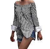 Tongshi Las Mujeres Hombro Blusa Rayas Impresión Slash Cuello Manga Larga Top Blusas (XL, Negro)