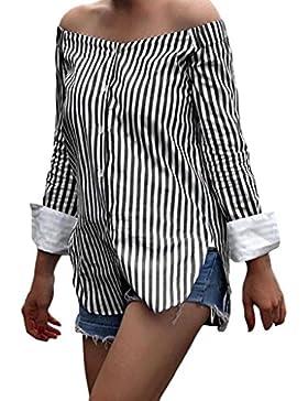 Tongshi Las Mujeres Hombro Blusa Rayas Impresión Slash Cuello Manga Larga Top Blusas