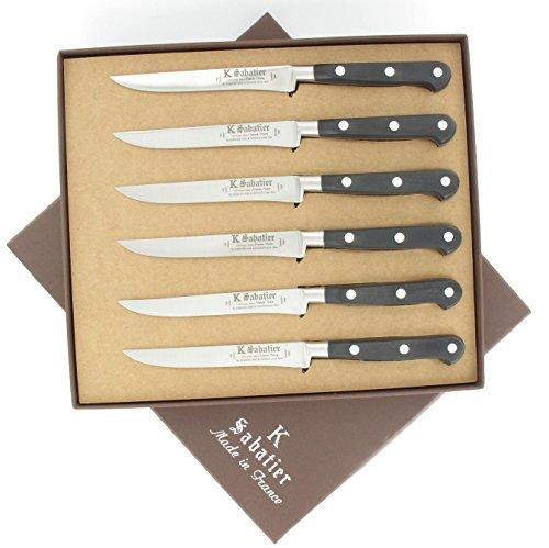 K Sabatier - Coffret De 6 Steaks 11 Cm K Sabatier - Gamme Authentique - Acier Inoxydable - Manche Noir - 100% Forge - Entièrement Fabrique En France