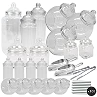 TOP STAR 19 Jars Vintage Victorian Pick & Mix Sweet Shop Candy Buffet Kit Party Pack - 2x Scoop 2x Tongs 100x Silver Stripe Bags