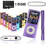 Tabmart Portable 16G MP3 MP4 Player 30 Hours Music Playback Video Player With Photo Viewer E-Book Reader Voice Recorder Purple