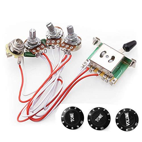 RUNCCI Kits de arnés de cableado de la guitarra eléctrica, 2T1V perillas...