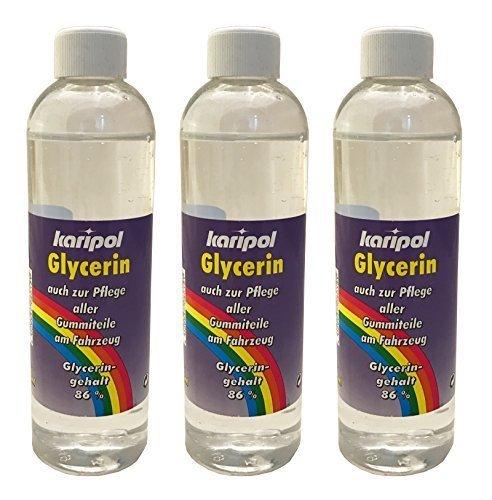 Preisvergleich Produktbild 3 x 250ml karipol Glycerin,  Gummipflege z.B. für Auto,  Gummireiniger
