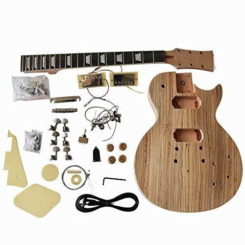 Hazlo tú mismo Guitarra Eléctrica KITS, gd790 Estilo MACIZO Caoba Cuerpo Con Zebrawood CHAPA