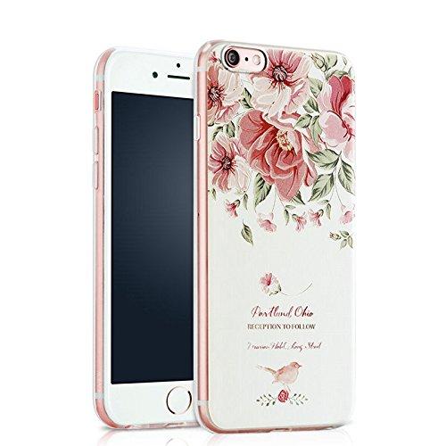 "Apple iPhone Hülle Ultra Slim Case weiche TPU Silikon Schutzhülle Kreativität 3D Malerei Handyschale Back Cover inkl. Halterung (iPhone 6/6s 4,7"", Pfingstrosen) Blume 3"