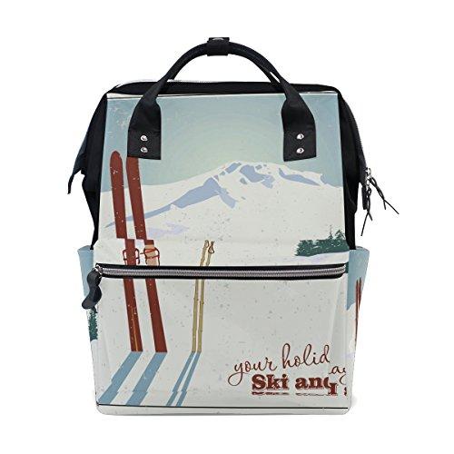 Preisvergleich Produktbild coosun Berge und Old Snowboard Wickeltasche Rucksack, großes Fassungsvermögen muti-function Reise Rucksack