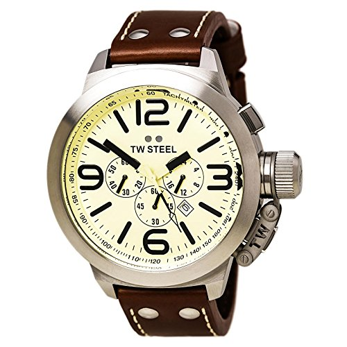 TW-Steel-Unisex-Quartz-Watch-with-Beige-Dial-Chronograph-Display-and-Brown-Leather-Strap-TW3