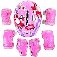 YVSoo Protecciones Patines Niño 7Pcs Casco Brazales Protector de odo Rodillera Equipo de Protección para Skate Ciclismo, 5-13 años